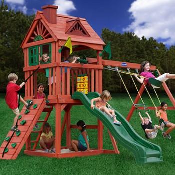 Игровая площадка с деревянным фортом «Зелёный замок»