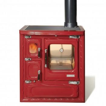 Печь-плита Deva II 75, стеклокер., хром, бордовая (Hergom)