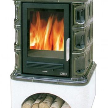 Кафельная печь ABX Regina (прямой цоколь, чугунная вставка)