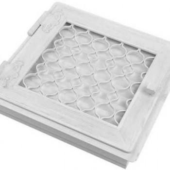 Каминная решетка Kratki Ретро белая с одной дверкой открывающейся 22х22